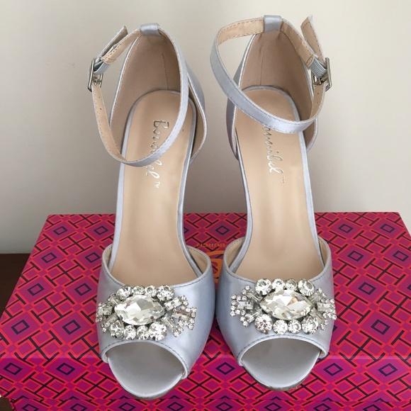 34dcee324156 Lulu s Shoes - Silver Satin Rhinestone Heels